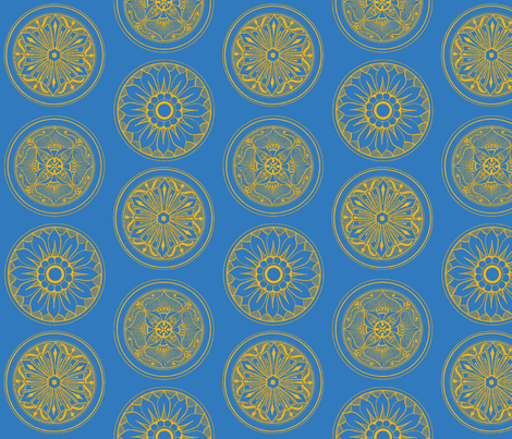 Medallions Cobalt  fabric by dolphinandcondor on Spoonflower - custom fabric