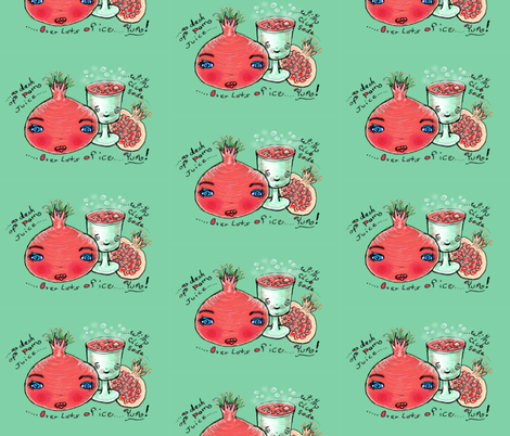 pomegranate summer drink recipe fabric by amy_g on Spoonflower - custom fabric