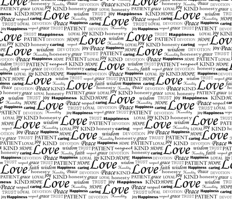 All U Need is LOVE_ Black fabric by fridabarlow on Spoonflower - custom fabric