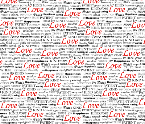 All U Need is LOVE, Red fabric by fridabarlow on Spoonflower - custom fabric