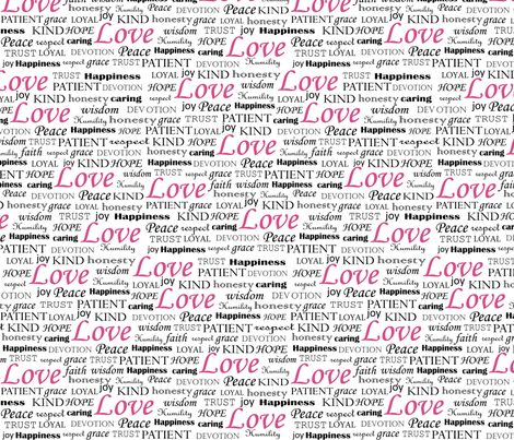 All U Need is LOVE_pink fabric by fridabarlow on Spoonflower - custom fabric