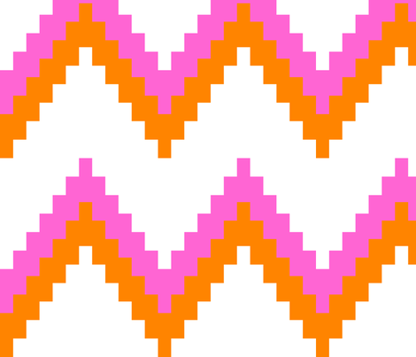 Pink and Orange Chevron fabric by eeniemeenie on Spoonflower - custom fabric