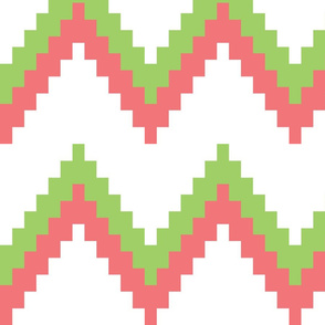 Green and Coral Chevron