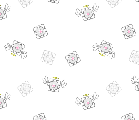 Companion Cube Angel fabric by lovelylatte on Spoonflower - custom fabric