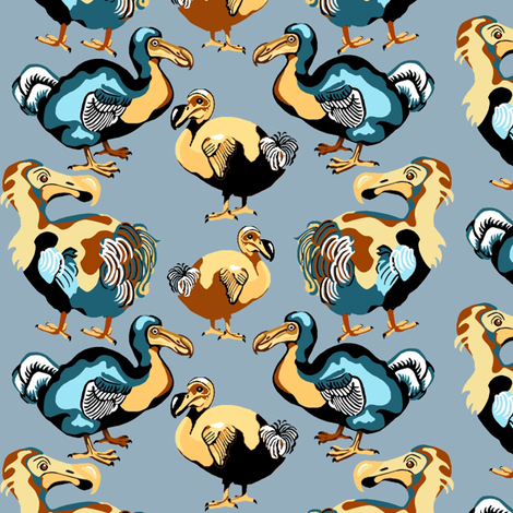Dodo_blue fabric by art_on_fabric on Spoonflower - custom fabric