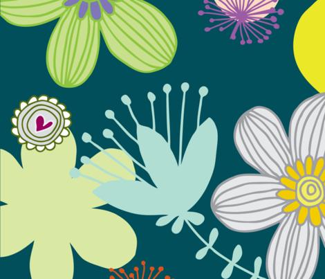 love garden blue fabric by tailorjane on Spoonflower - custom fabric