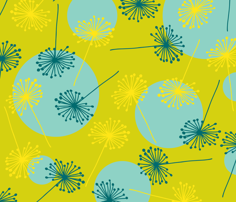 sunny dandilion sun fabric by tailorjane on Spoonflower - custom fabric