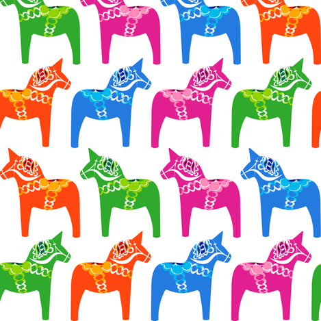 Dala Horse (Polymonochrome) fabric by nekineko on Spoonflower - custom fabric