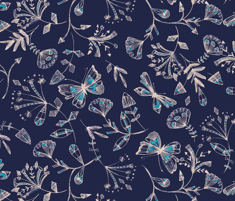 inky butteflies - smaller scale - navy fabric by bethan_janine on Spoonflower - custom fabric