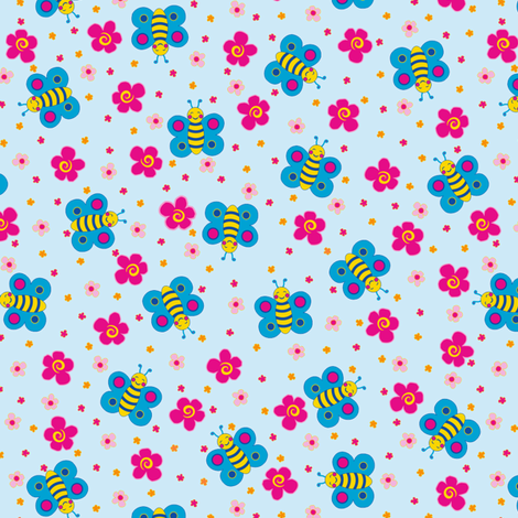 Happy blue butterflies fabric by juliagrifol on Spoonflower - custom fabric