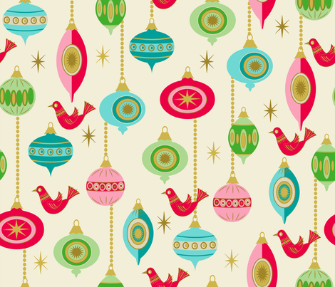 Baubles and Birds fabric by retrorudolphs on Spoonflower - custom fabric