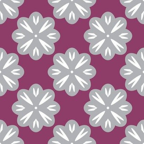 Gray Flowers on Purple