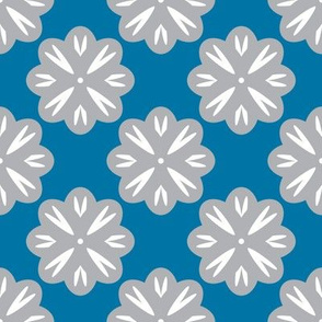 Gray Flowers on Blue