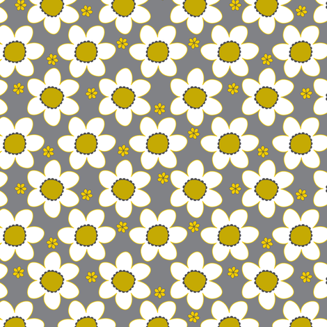 Happy Blooms Yellow fabric by zoebrench on Spoonflower - custom fabric