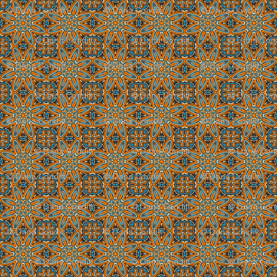 Set 1 Pattern 3 - Orange Blue Black Tribal Style