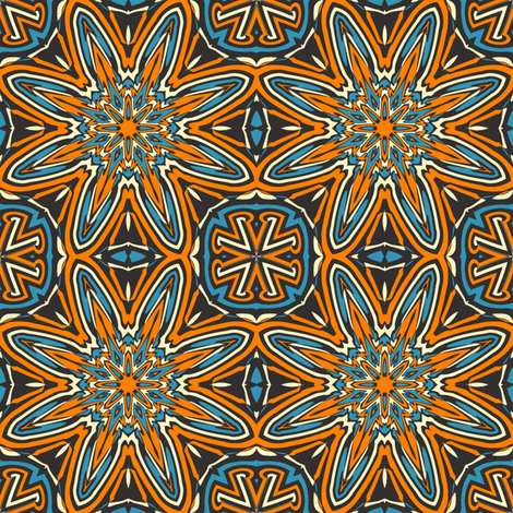 Set 1 Pattern 3 - Orange Blue Black Tribal Style fabric by phenompixels on Spoonflower - custom fabric