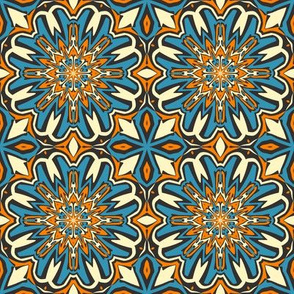 SET 1 PATTERN 5 - ORANGE BLUE BLACK TRIBAL STYLE