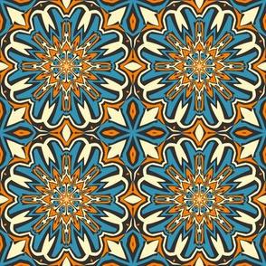 SET 1 PATTERN 5 - ORANGE BLUE BLACK TRIBAL STYLE