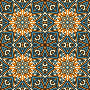 SET 1 PATTERN 7 - ORANGE BLUE BLACK TRIBAL STYLE