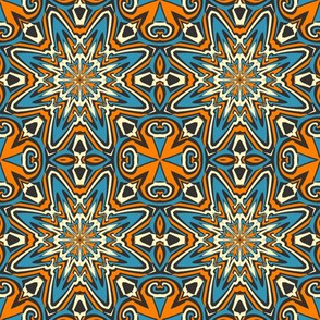 SET 1 PATTERN 9 - ORANGE BLUE BLACK TRIBAL STYLE