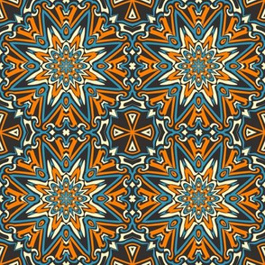 SET 1 PATTERN 10 - ORANGE BLUE BLACK TRIBAL STYLE