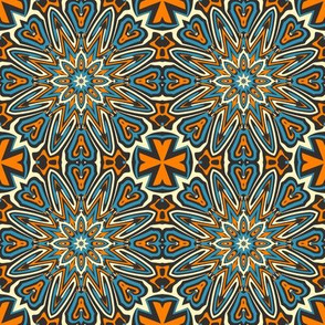 SET 1 PATTERN 11 - ORANGE BLUE BLACK TRIBAL STYLE