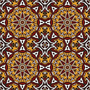 SET 2 PATTERN 4 - RED GOLD WHITE BLACK TRIBAL STYLE