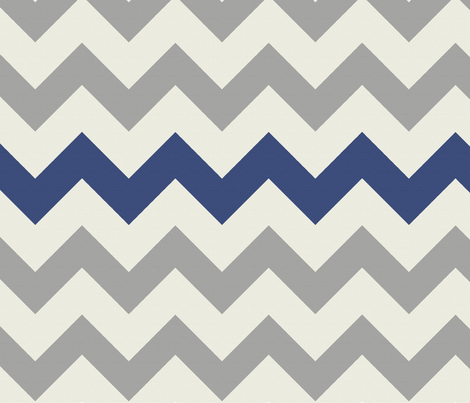 Grey Navy Large Chevron fabric by bluenini on Spoonflower - custom fabric