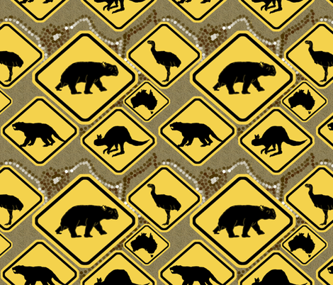 Extinct Australian Megafauna fabric by upcyclepatch on Spoonflower - custom fabric