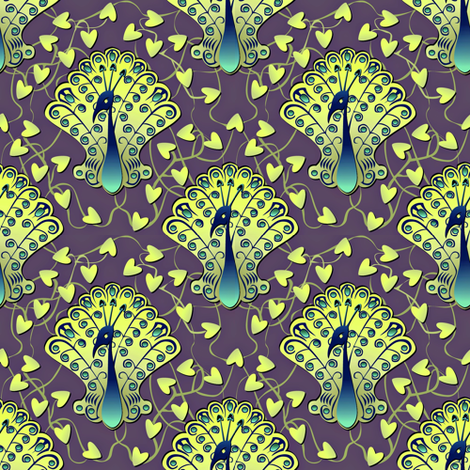 Gilded Peacock - Glowworm Green fabric by glimmericks on Spoonflower - custom fabric