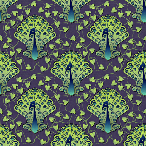 Gilded Peacock - Midnight Stroll fabric by glimmericks on Spoonflower - custom fabric
