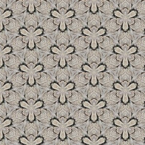 Driftwood VI -- nested floral in beige, taupe, and dark brown