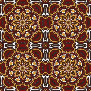 SET 2 PATTERN 6 - RED GOLD WHITE BLACK TRIBAL STYLE