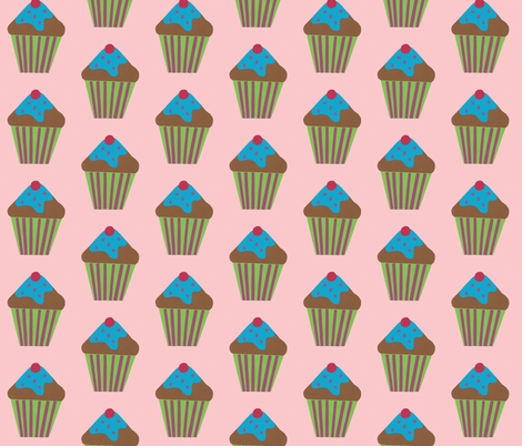 blue icing pink fabric by fabricfaeries on Spoonflower - custom fabric