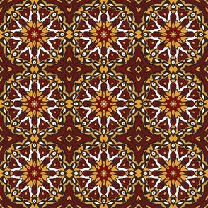 SET 2 PATTERN 10 - RED GOLD WHITE BLACK TRIBAL STYLE