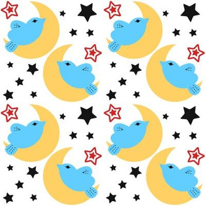 Celestial Kawaii Cuteness With Blue Bird Over The Moon