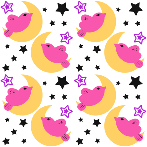 Celestial Kawaii Cuteness With Pink Bird Over The Moon fabric by ohsofabfabrics on Spoonflower - custom fabric