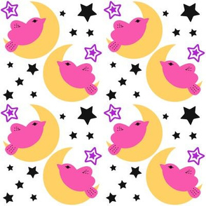 Celestial Kawaii Cuteness With Pink Bird Over The Moon