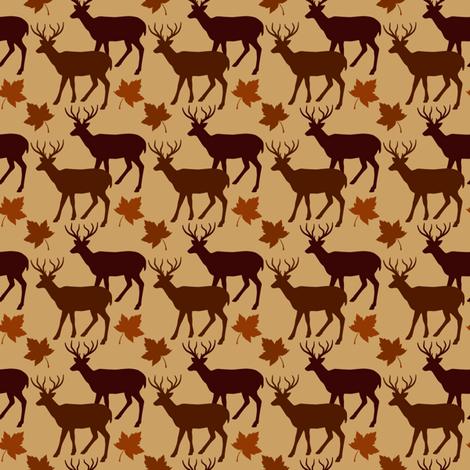 Fall Leaves Animal Deer Buck Up 1 fabric by ohsofabfabrics on Spoonflower - custom fabric