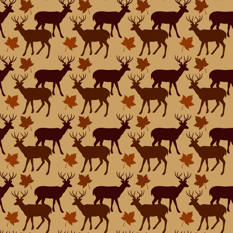 Fall Leaves Animal Deer Buck Up 2 fabric by ohsofab on Spoonflower - custom fabric