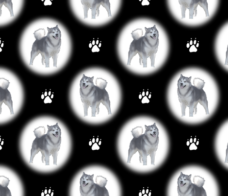 Alaskan Malamute snow globes fabric by rusticcorgi on Spoonflower - custom fabric