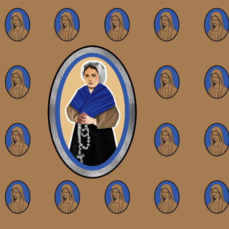 Saint Bernadette and Our Lady of Lourdes fabric by littleliteraryclassics on Spoonflower - custom fabric