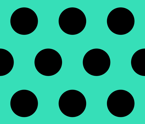 Black Dots On Green fabric by animotaxis on Spoonflower - custom fabric