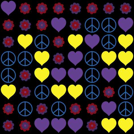 Hippy Love and Peace 1 fabric by animotaxis on Spoonflower - custom fabric