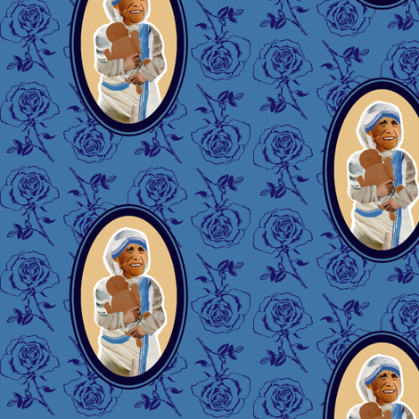 Blessed Mother Teresa of Calcutta fabric by littleliteraryclassics on Spoonflower - custom fabric