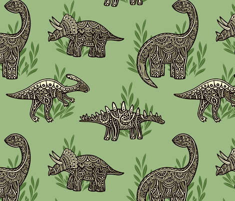 Swirly Dinosaurs fabric by lilichi on Spoonflower - custom fabric