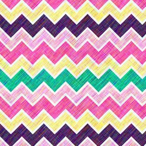 Chevron Multi-Colored Linen Look