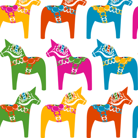 Dala Horse (Polychrome) fabric by nekineko on Spoonflower - custom fabric