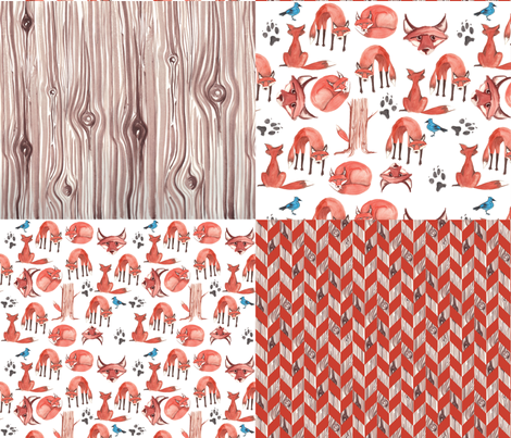 Quick Red Fox Quilter's Assortment 1 fabric by nightgarden on Spoonflower - custom fabric