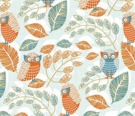 Ha_Ha__Ho_Ho__He_He__Laughing_Owls fabric by niceandfancy on Spoonflower - custom fabric